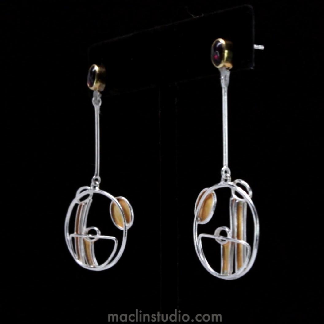 Charles Rennie Mackintosh Inspirations Silver And Garnet Earrings